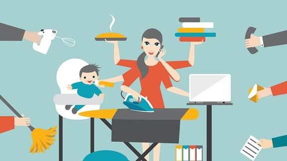 Frau beim Multitasking