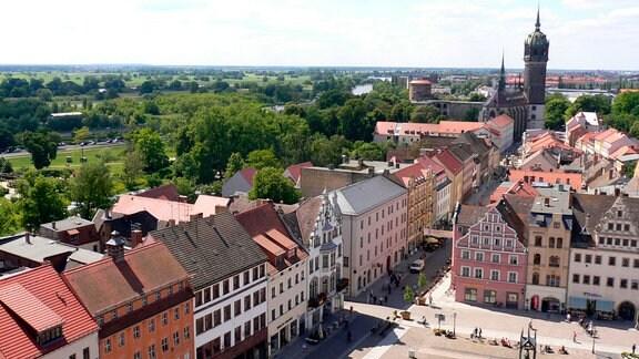Wittenberg - Markt, Schlossstrasse und Schlosskirche