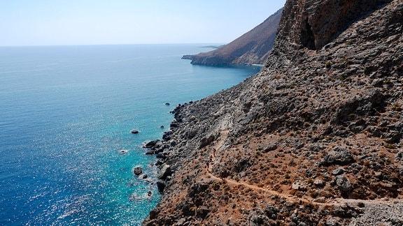 Der Wanderweg E4 entlang der Südküste Kretas.