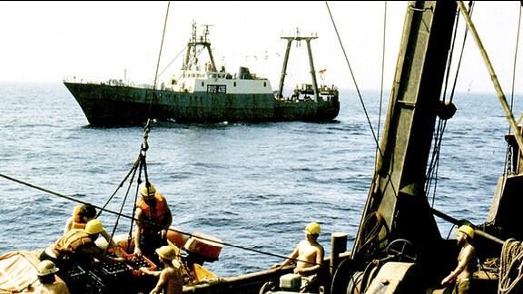 """Auf hoher See, dem Atlantischen Ozean, wird nachgeladen. Die Deckbesatzung unter ihnen Netzmacher und Matrosen, der ROS 415 """"Heinz Priess"""" übernehmen vom Trawler ROS 416 """"Eugen Schönhaar"""" den Versorgungsnachschub. Mit dem Schlauchboot werden Getränke, Post und Filme angeliefert."""