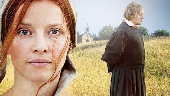 Eine Frau in nahaufnahme, in mittelalterlicher Kleidung auf einer Wiese, im Hintergrund ein Mann und eine Kapelle auf einem Hügel.