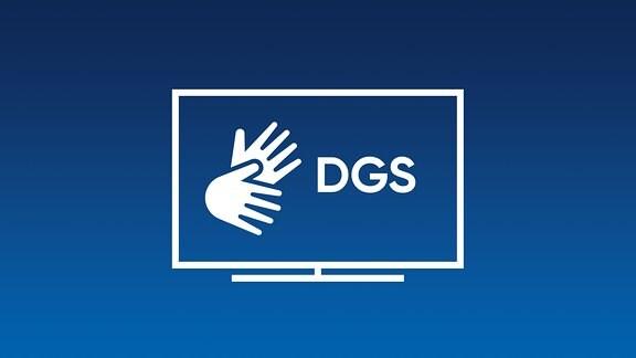 weiße Hände auf blauem Grund mit den Buchstaben DGS