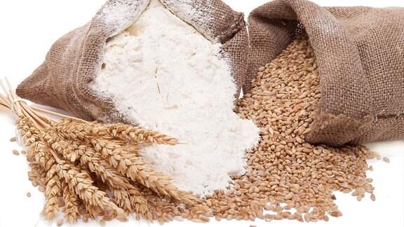 Ein Bild von Säcken mit Körnern und Mehl