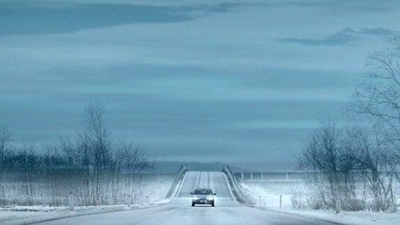 Autofahrt durch eine surreale Landschaft.