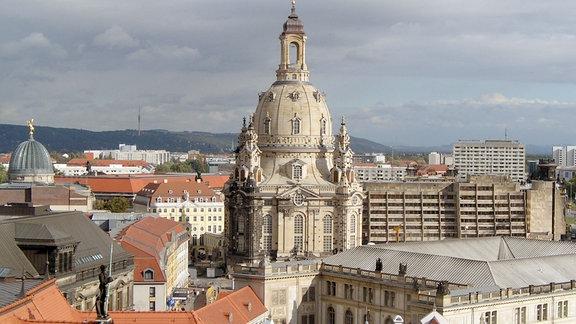 Die Dresdner Frauenkirche nach dem Wiederaufbau.