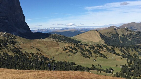 Blick auf das Sellajoch (Alpenpass)