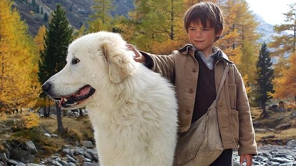 Der Pyrenäenhund Belle steht neben seinem Freund Sebastian (Félix Bossuet).