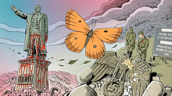 Ein gelber Schmetterling fliegt vor einem mit Blut beschmierten Stalindenkmal und Soldaten, die auf ein zerstörtes Nazi-Monument urinieren.