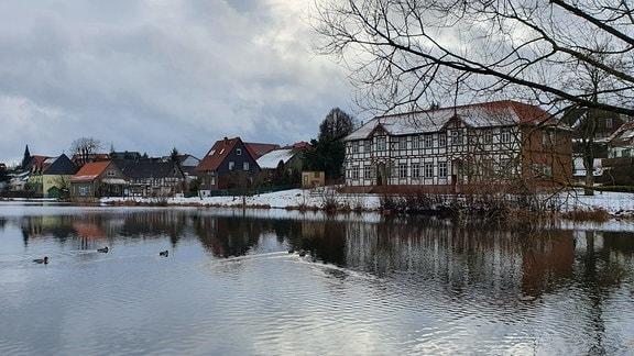 Stiege ist eine Gemeinde im Oberharz, nordwestlich des Selketals gelegen zwischen Hasselfelde und Güntersberge. Den kleinen See haben die Enten dieses Jahr für sich allein. An Schlittschuhfahren ist bei diesem milden Winter nicht zu denken.