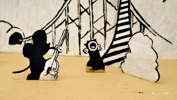 Variationen bekannter Cartoon-Figuren.