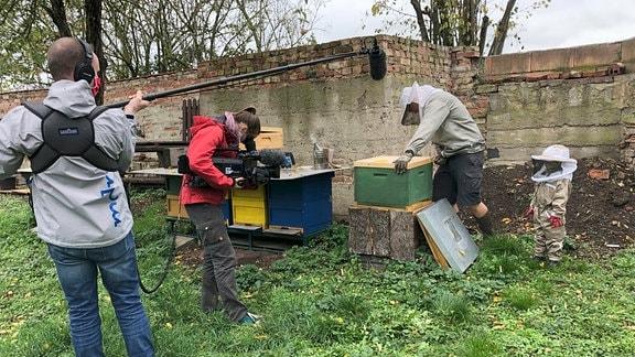 Mindestabstand und zwar nicht nur wegen Corona. Auch im Winter leben hier etwa 6.000 Bienen.