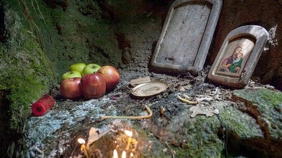 Eine alte Opferstätte des Nestinari-Kult in den Bergen Bulgarien.