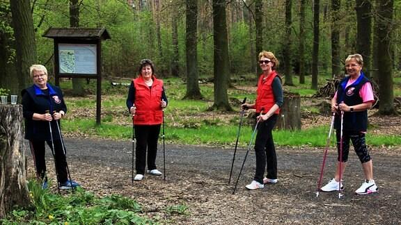 """Döbrichauer Frauenpower gibt's mindestens einmal pro Woche auch beim Nordic Walking. Das Sommerziel ist dabei meist die """"Lößfurth, eine markante, sagenhafte und feiererprobte Wegkreuzung mitten im Wald."""