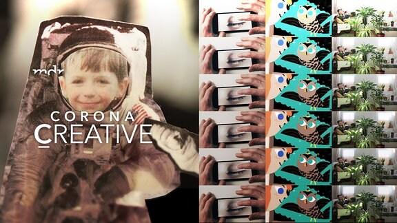 Collage aus Bildern mehrerer Sendungen. Im Mittelpunkt ist ein Weltraumanzug in den, anstelle des Astronauten, das Bild eines lachenden Jungen hineinmontiert wurde.