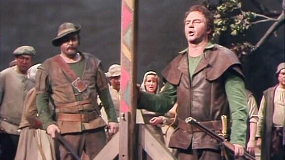 """Szene aus """"Der Freischütz"""" zur Wiedereröffnung der Semperoper 1985."""
