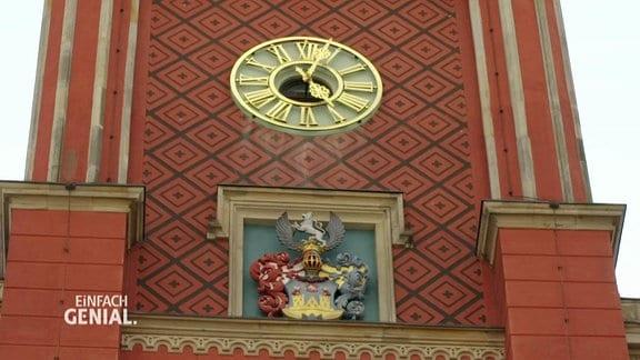 Die Uhr am Kamenzer Rathaus.