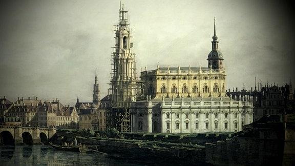 Die Katholische Hofkirche in Dresden.