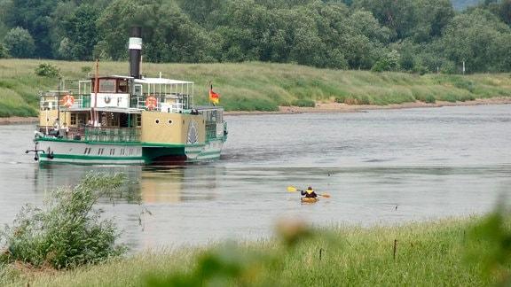 Reporterin Susann Blum im Kajak auf dem Wasser.