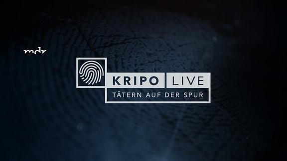 Über einem abgedunkelten Finger in Nahaufnahme steht der Schriftzug: Kripo live - Tätern auf der Spur und das Bild eines stilisierten Fingerabdrucks.