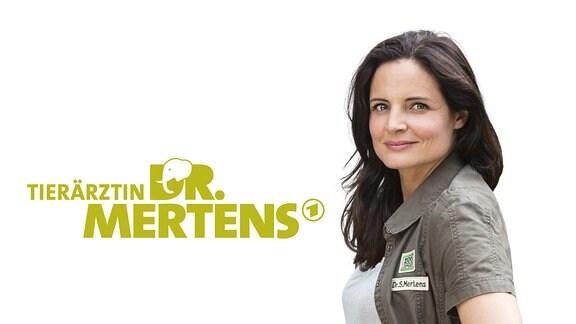 Logo der Fernsehserie Tierärztin Dr.Mertens. Rechts neben dem Schriftzug der Serie ist Schauspielerin Elisabeth Lanz als Tierärztin Dr. Mertens zu sehen