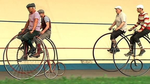 Hochradfahrer aus Saschen und Thüringen beim Rennen im Andreasried.