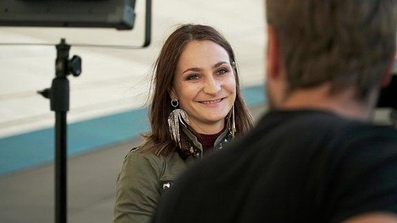 Kristina Vogel, bis heute die erfolgreichste Radrennfahrerin der Welt, beim Interview für diesen Film.