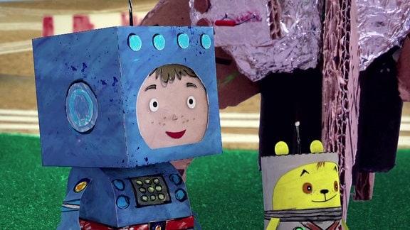 Raketenflieger Timmi und sein Teddynaut Teddy.