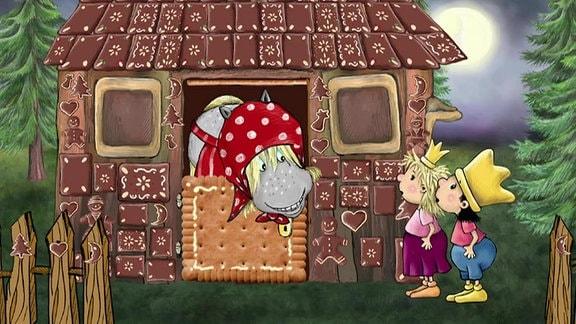 Der kleine König und die kleine Prinzessin spielen Hänsel und Gretel und landen im Lebkuchenhaus der Hexe.
