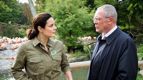 Die Lage ist ernst – der Leipziger Zoo steht ohne Direktor da und OB Herrenbrück (Frank Sieckel, r.) bittet Tierärztin Dr. Mertens (Elisabeth Lanz, l.) um Unterstützung. Wird sie die Zoodirektion übernehmen?