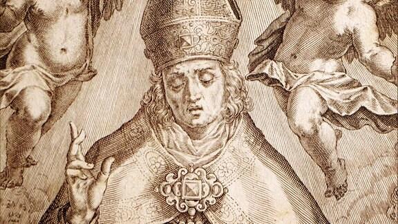 Ein Kupferstich mit dem Bischof Benno von Meißen
