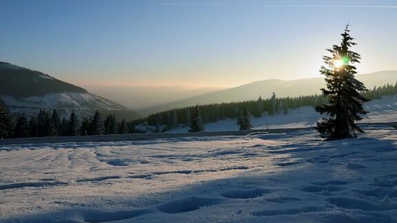 Sonnenuntergang im Nationalpark Riesengebirge