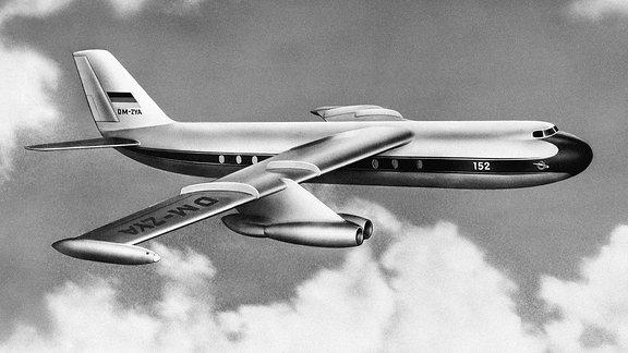 Illustration zeigt das Flugzeug ''152'' während des Fluges zwischen den Wolken.