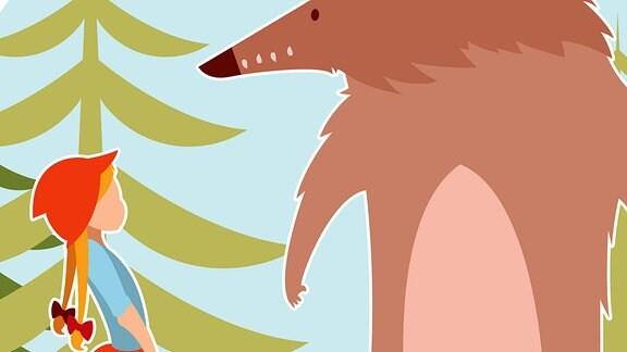 Illustration Rotkäppchen. Ein junges Mädchen mit roter Kleidung steht in einem Wald vor einem großen Wolf.
