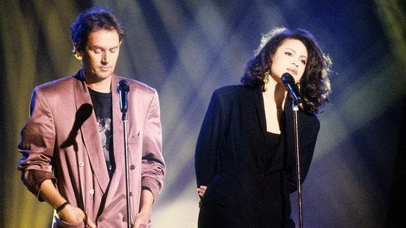 Stefan Waggershausen und Viktor Lazlo in der ZDF-Hitparade.