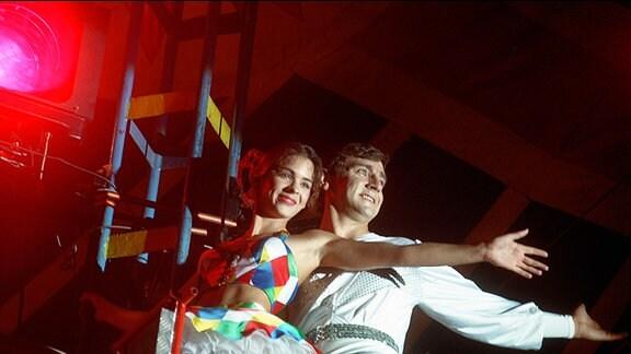 Anastasia und Vladimir auf dem Hochseil.