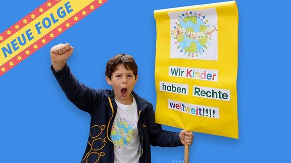 """Bild mit einem Jungen, der ein Schild trägt und dem Tweens-Banner """"Neue Folge""""."""