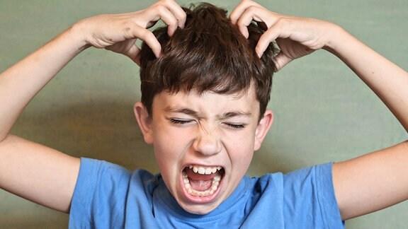 Ein Junge kratzt sich mit beiden Händen den Kopf