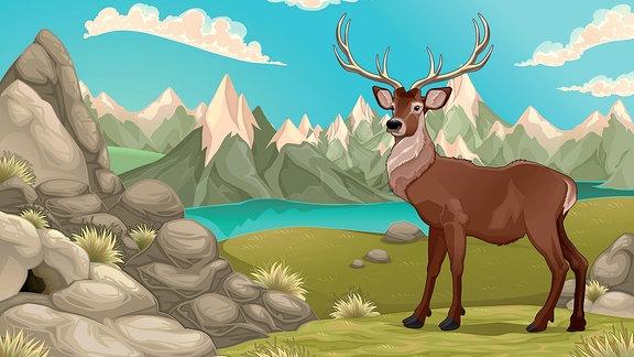 Illustration eines Hirsches im Gebirge