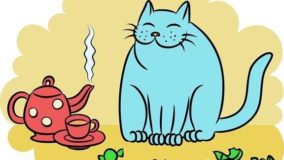 Kanne, Tasse, Katze, Bonbon
