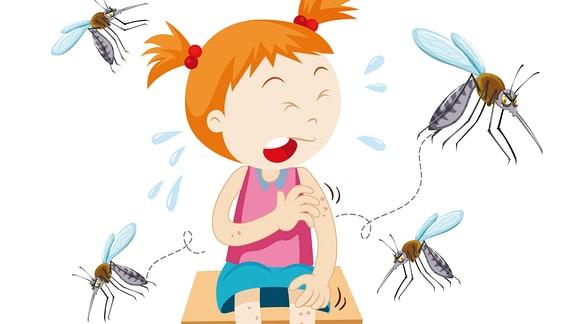 ein Mädchen wird von Mücken gestochen