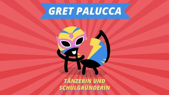 """Episodenbild vom MDR TWEENS Podcast Magisches Mikro auf dem zwei tanzende Tweenies abgebildet sind und die Schrift """"Gret Palucca, Tänzerin ud Schulgründerin"""""""