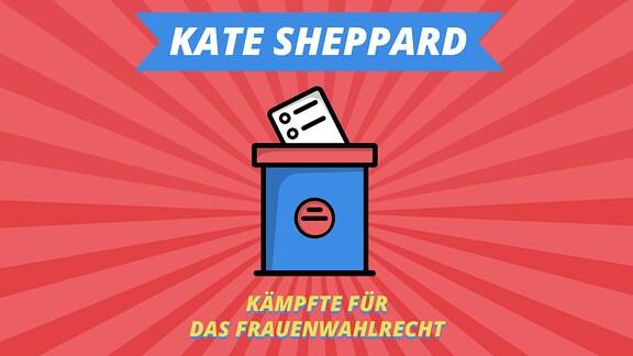 """Episodenbild vom MDR TWEENS Podcast Magisches Mikro auf dem Wahlurne abgebildet ist und die Schrift """"Kate Sheppard, kämpfte für das Frauenwahlrecht"""""""