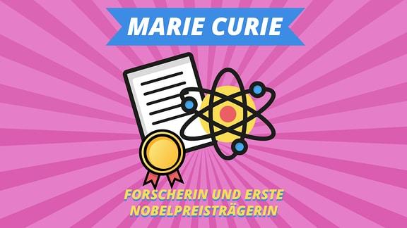 """Episodenbild vom MDR TWEENS Podcast Magisches Mikro auf dem eine Urkunde und ein Atom abgebildet ist und die Schrift """"Marie Curie, Forscherin und erste Nobelpreisträgerin"""""""