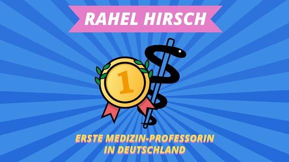 """Episodenbild vom MDR TWEENS Podcast Magisches Mikro auf dem eine Auszeichnung und der Schlangenstab als medizinisches Symbol abgebildet ist und die Schrift """"Rahel Hirsch, erste Medizin-Professorin in Deutschland"""""""