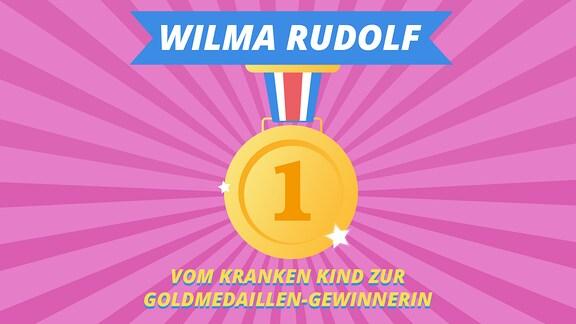 """Episodenbild vom MDR TWEENS Podcast Magisches Mikro auf dem eine Goldmedaille abgebildet ist und die Schrift """"Wilma Rudolph, vom kranken Kind zur Goldmediallen-Gewinnerin"""""""