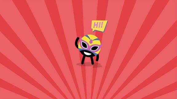 Ein kleines schwarzes TWEENIE mit gelber Superheldenmaske auf rot-rosa-gestreiftem Hintergrund.
