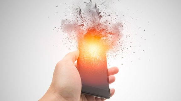 explodierendes Smartphone