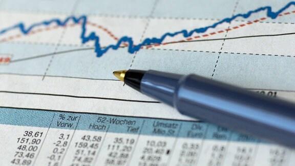 ein Stift liegt auf einem Börsenchart
