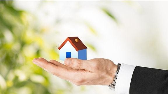 Ein Mann hält ein Modell-Haus in der Hand.