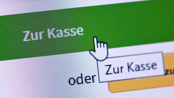 Button Zur Kasse in einem Onlineshop